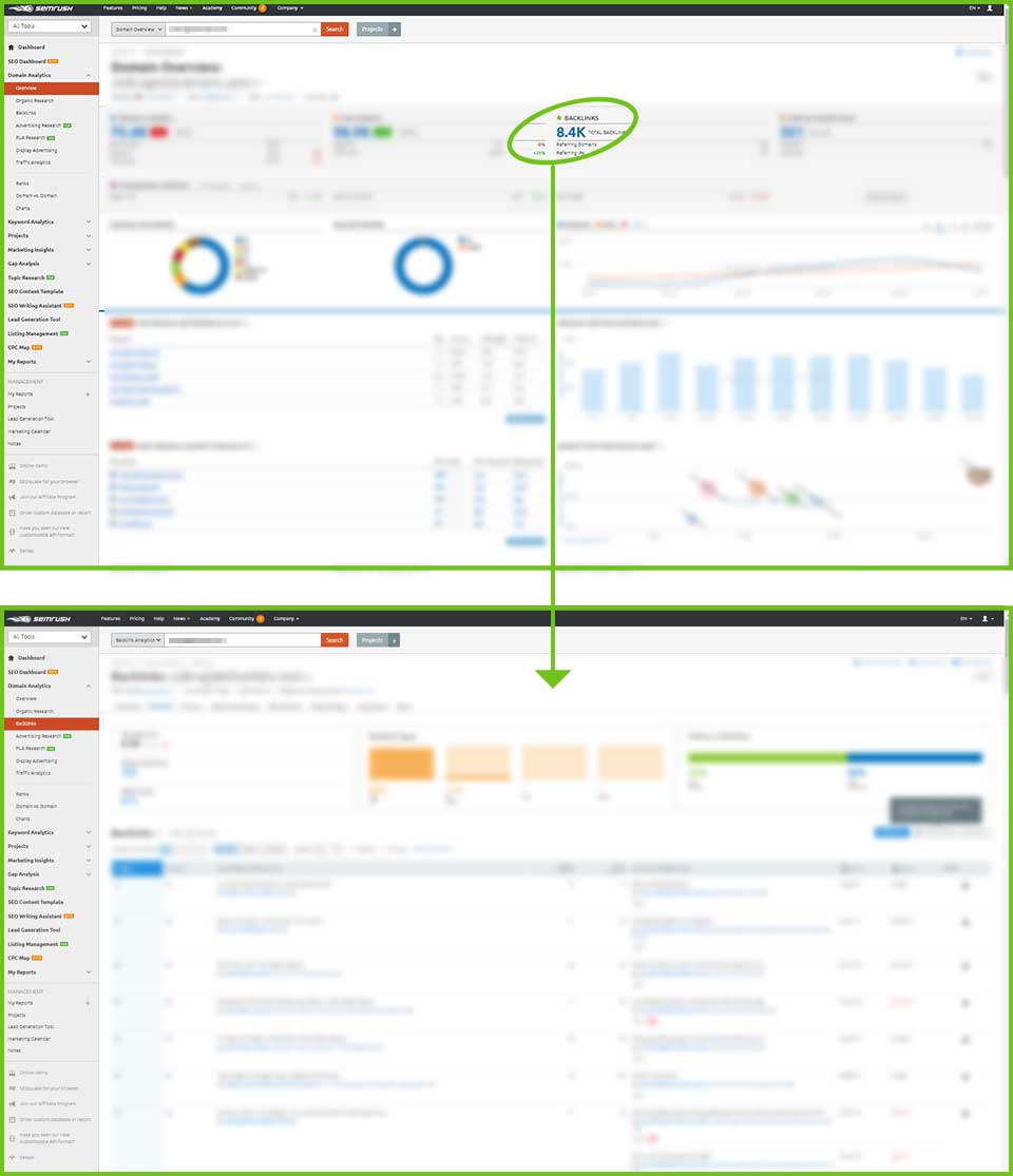 SEMrush screen shot