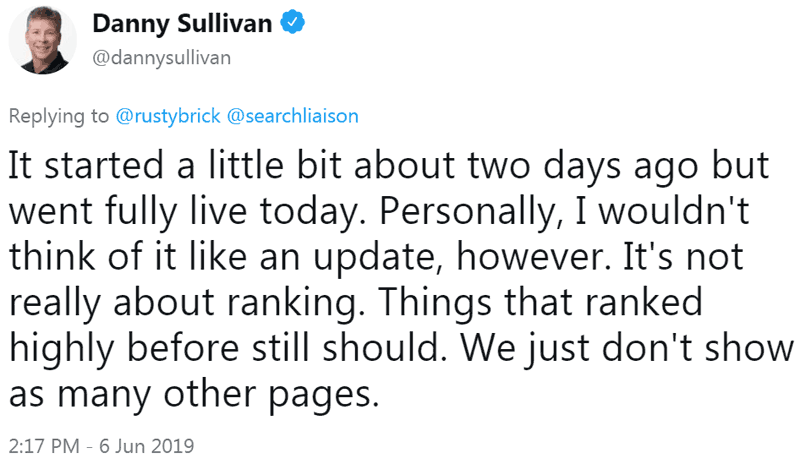 Screenshot of tweet by Google's Danny Sullivant