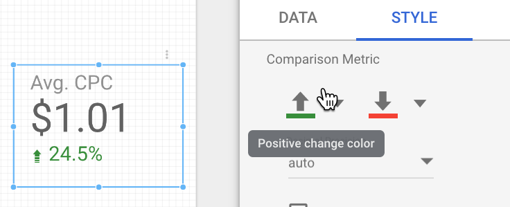 set color of comparison metrics in data studio style panel