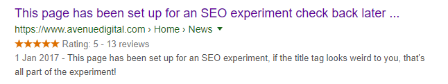 Example of a meta title truncated where missing words were counted for ranking