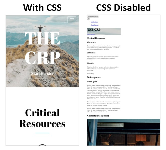 Page with CSS Disabled