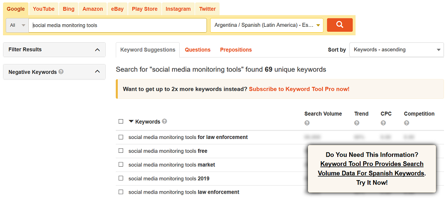 international keyword research tools keyword tool io