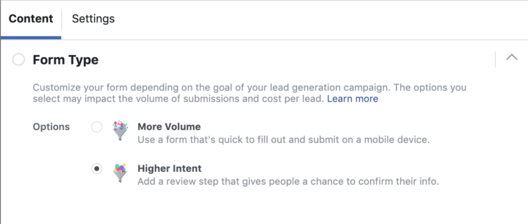 Facebook Lead Gen Form Type Settings