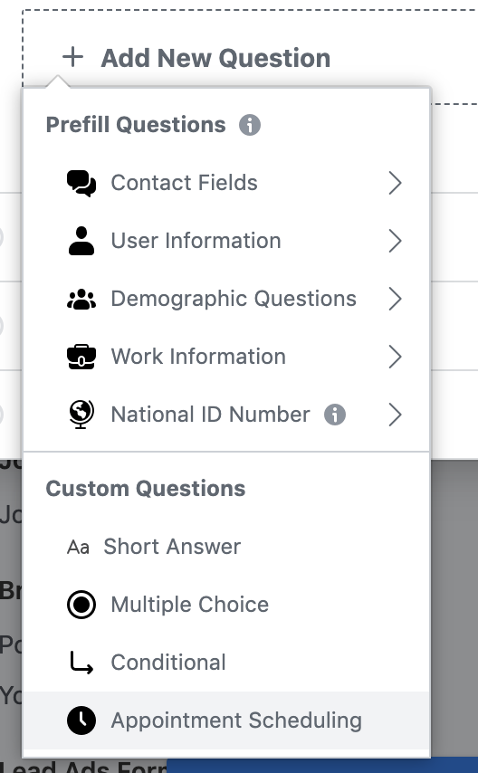 Facebook Lead Gen Forms Question Options