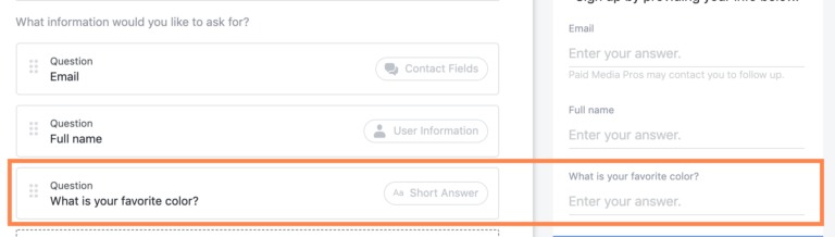 Facebook Lead Gen Forms Short Answer Question