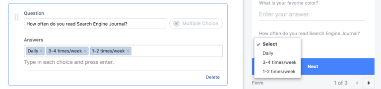 Question sur les questions à choix multiples sur Facebook Lead Gen Form