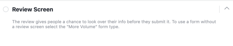 Facebook Lead Gen Form Review Screen