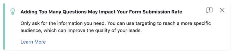 Facebook Lead Gen Forms Warning Text