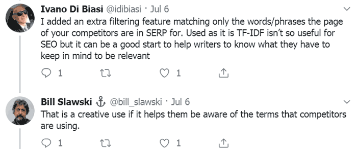 screenshot of a bill slawski tweet commenting about usefulness of TF-IDF for content analysis