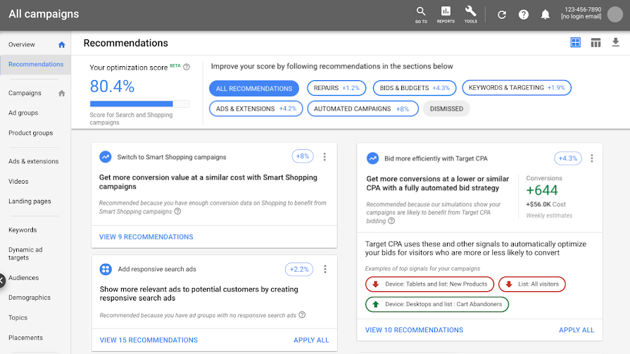 Google Ads' Optimization Score Now Includes Shopping Campaigns