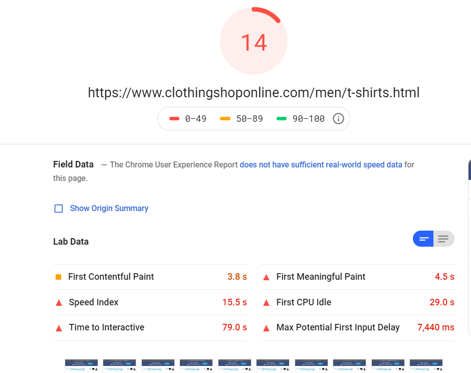 Google's PageSpeed Insights sample report