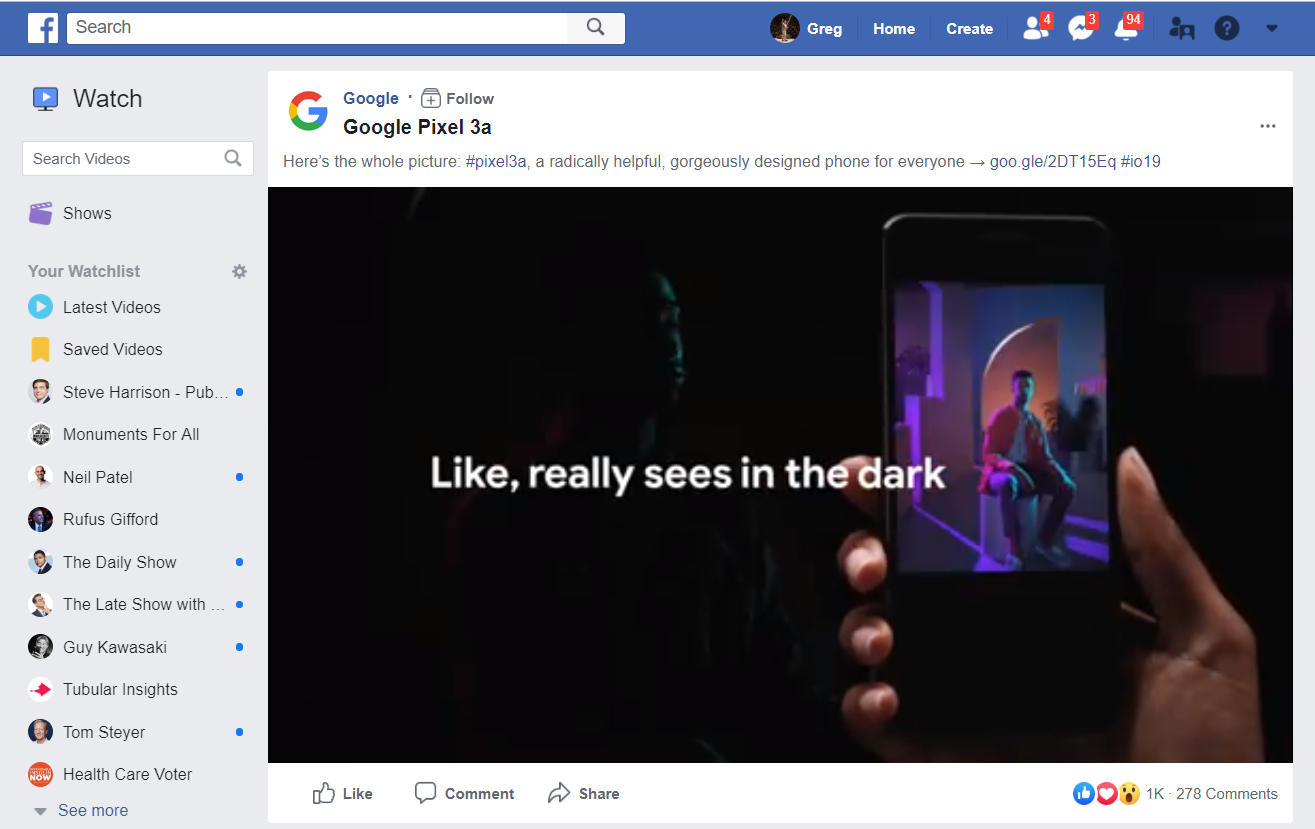 Google Facebook post
