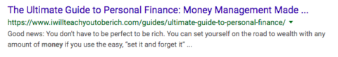 "Screenshot of SERPs ""Guide to Personal Finance"""