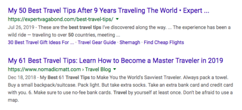 "SERPs screenshot of ""travel tips"""