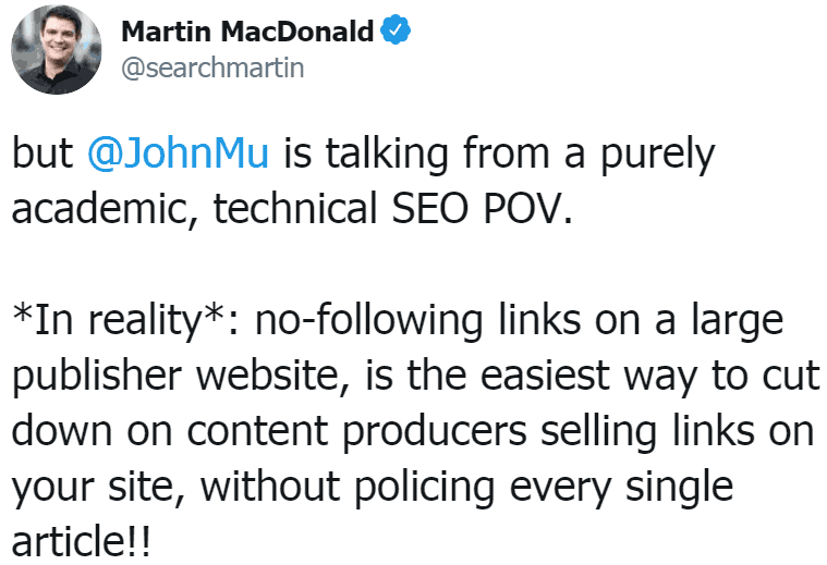 Screenshot of tweet by Martin MacDonald