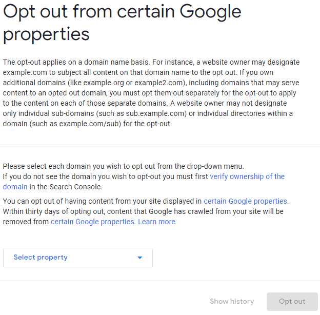 Screenshot of Google Search Console Opt Out Page