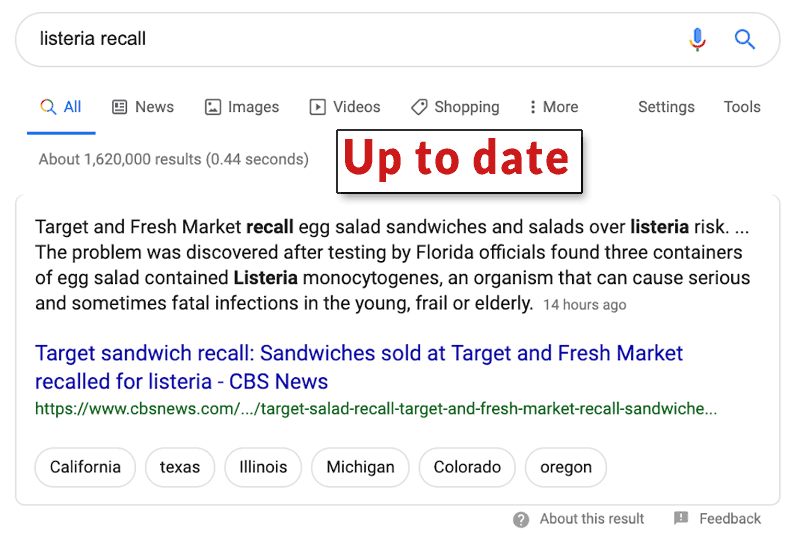 Up to Date Featured Snippet