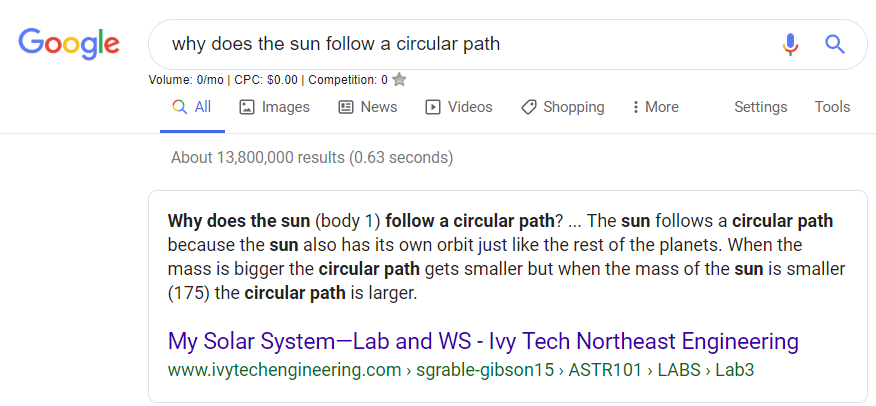 Why does the sun follow a circular path?
