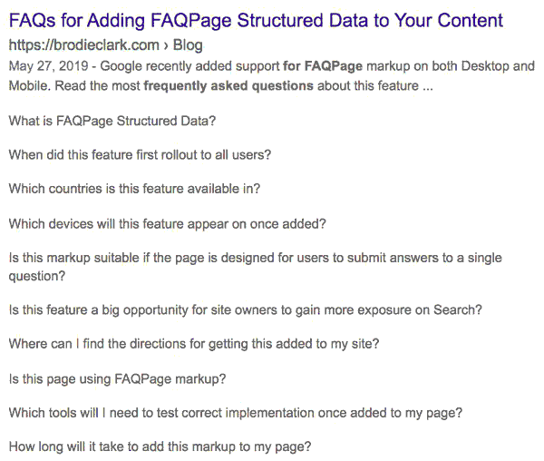 Screenshot of a search result with ten FAQs