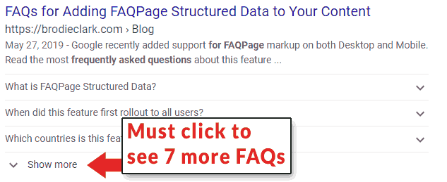 Screenshot of a search result with 7 FAQs
