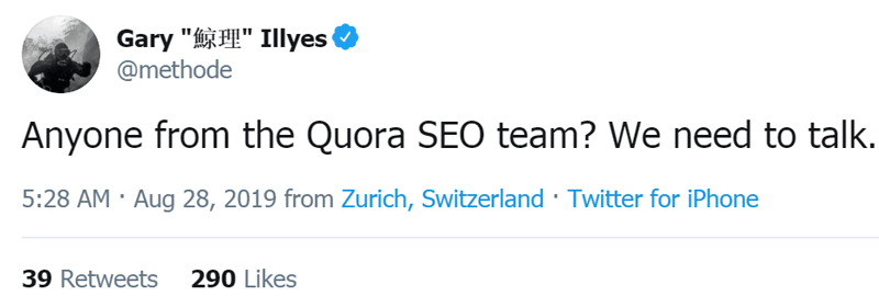 Screenshot of a tweet by Google's Webmaster Analyst, Gary Illyes