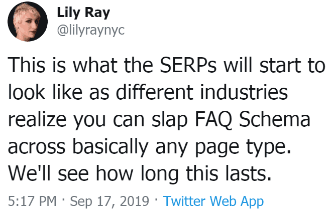 Screenshot of a tweet by lily ray