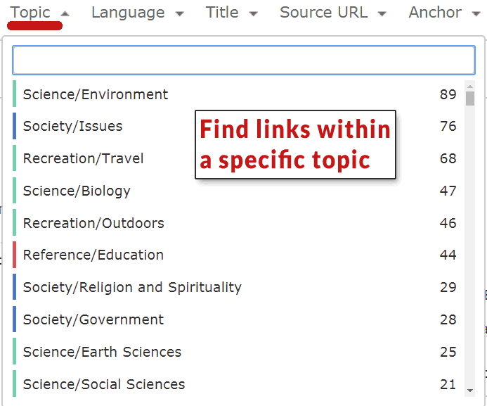 Screenshot of Majestic link research tool's ability to research backlinks by topic.