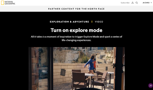 National Geographic partner content for the North Face