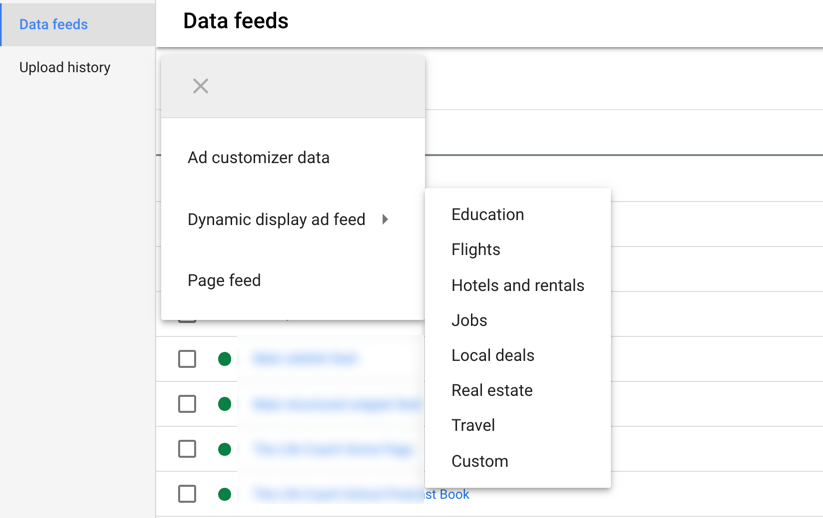 google ads screenshot of dynamic display ad feed dropdown