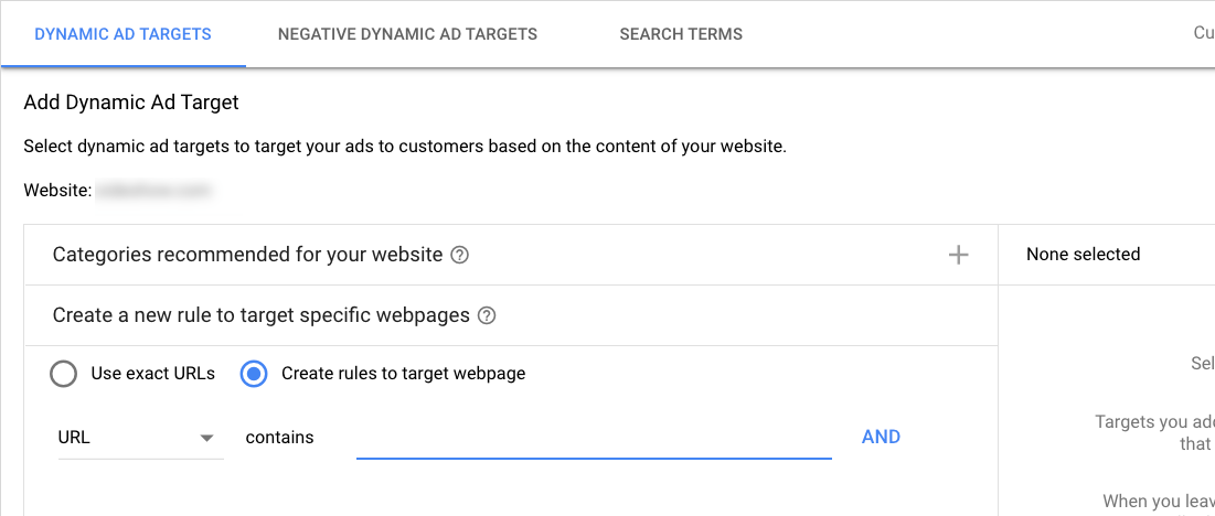 dynamic search ads setup screenshot