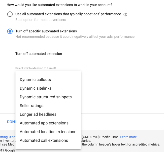 drop down of automated extensions