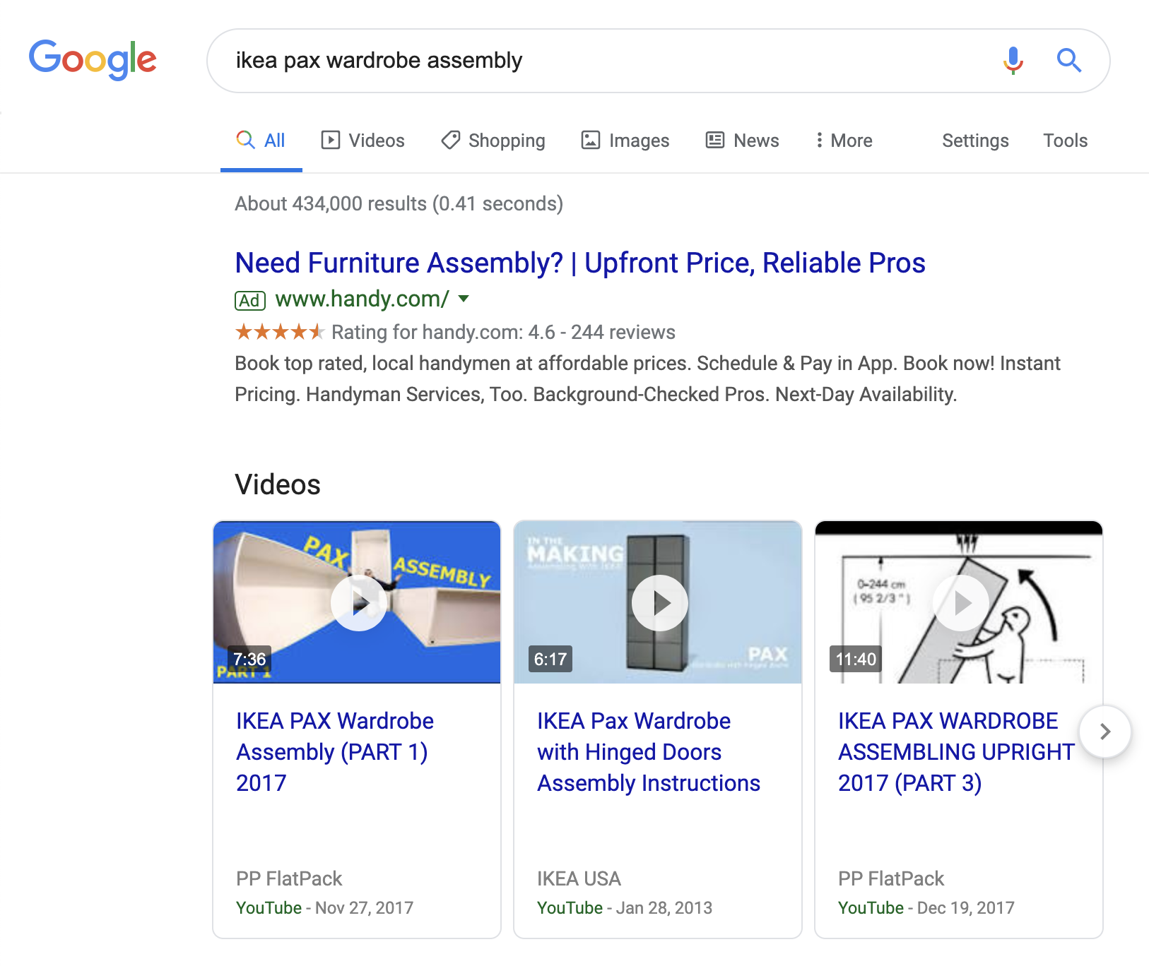SERP for ikea pax wardrobe assembly query
