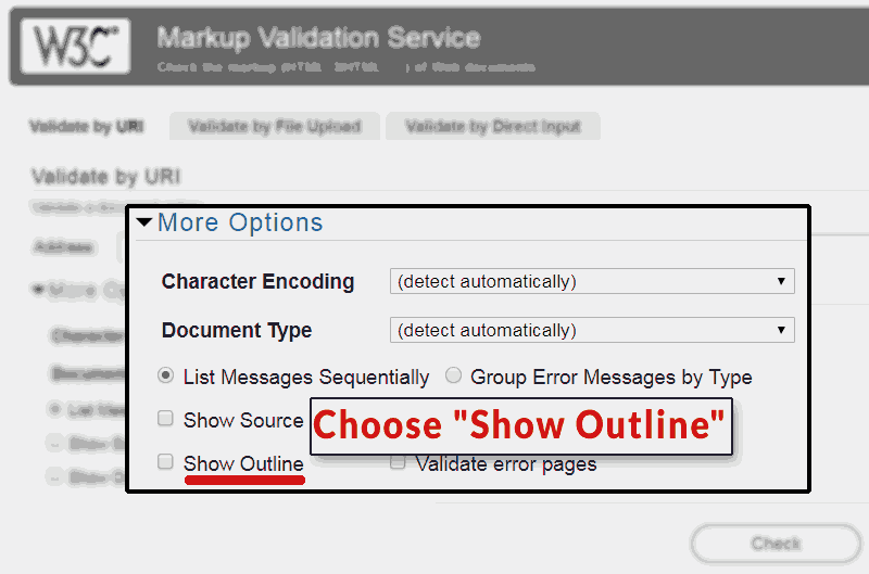 "Screenshot of W3C HTML Validator illustrating the ""Show Outline"" option."