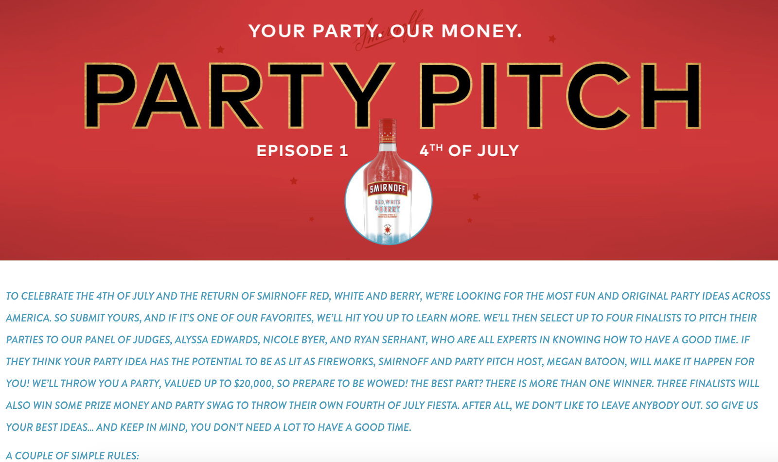 Smirnoff: July 4th Party Pitch