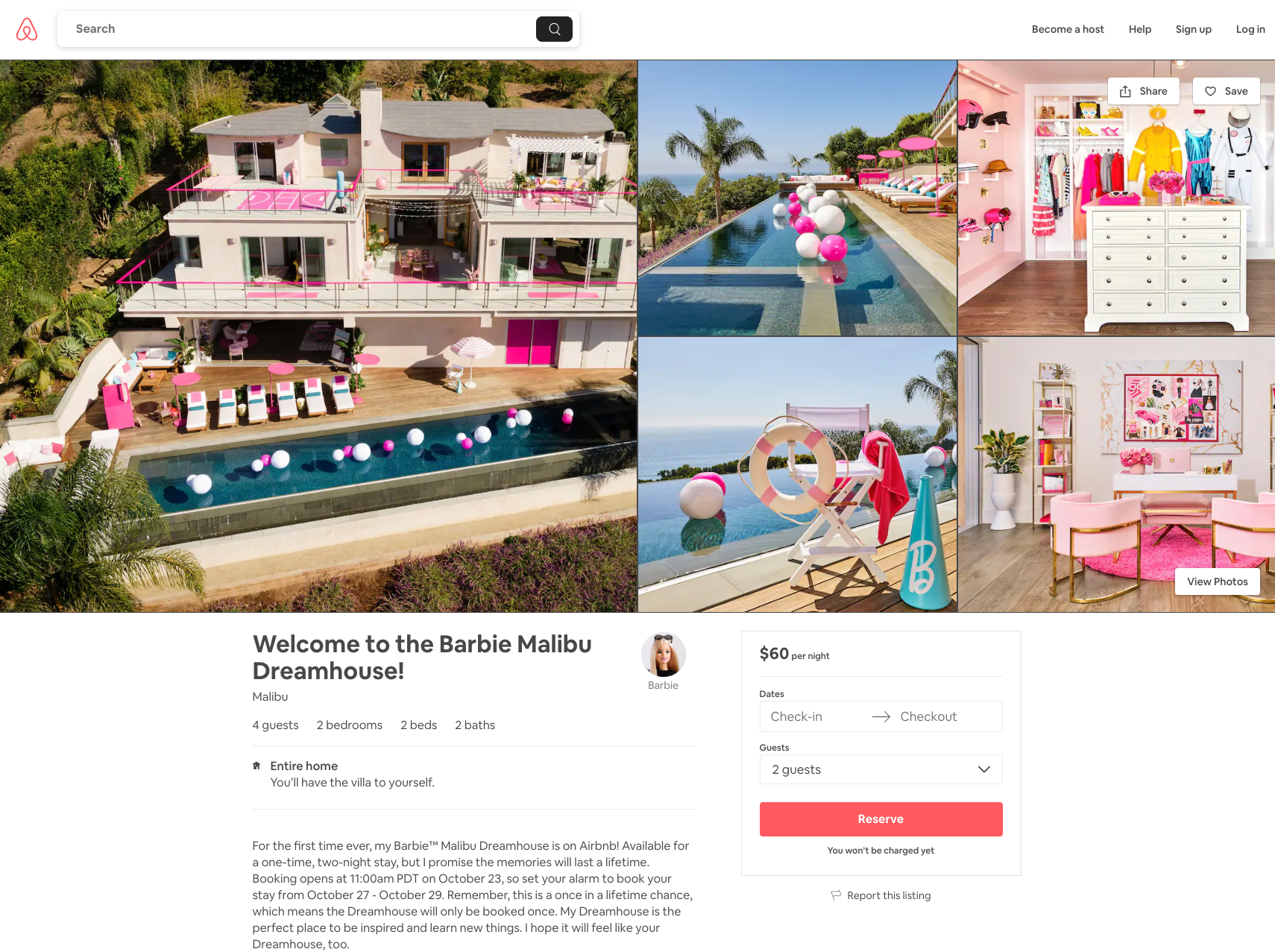 airbnb barbie house
