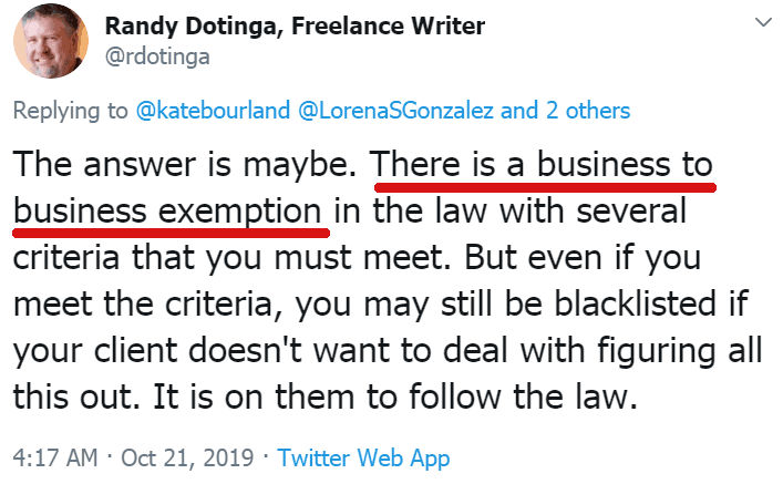 Screenshot of a tweet by Randy Dotinga claiming there are exemptions to California freelance law