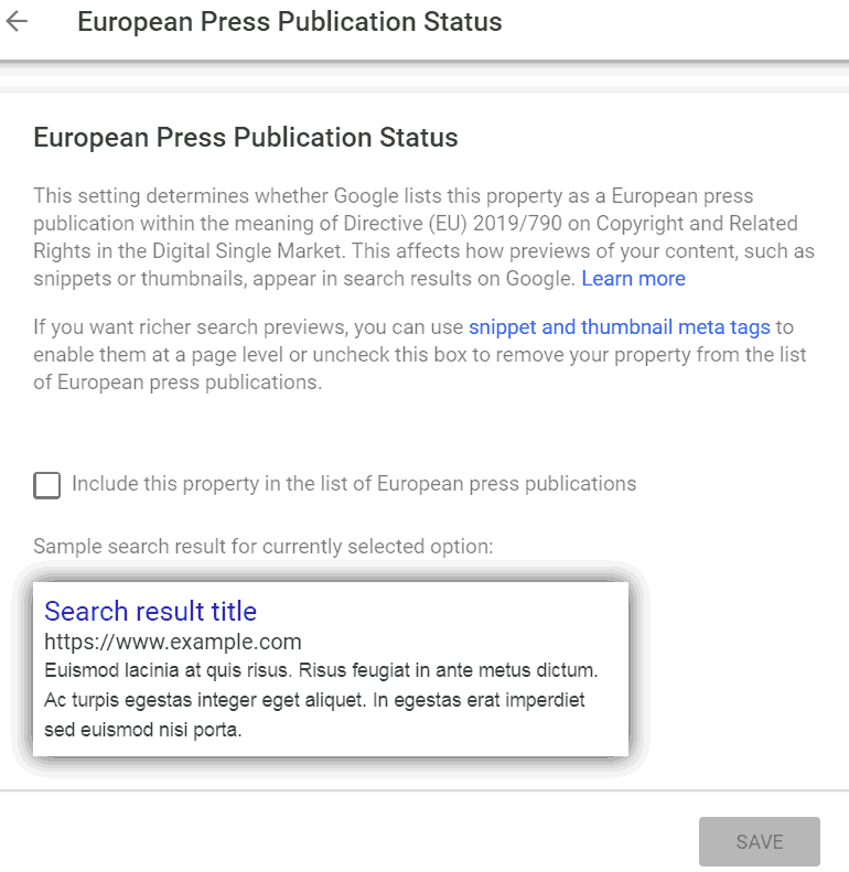 Screenshot of European Press Publication Status section of Google's search console
