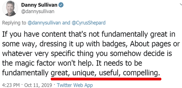 Screenshot of a tweet by Google's Danny Sullivan
