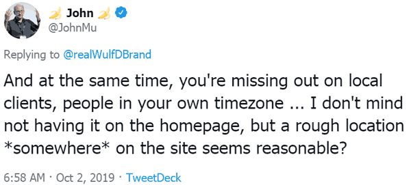 Screenshot of a tweet by Google's John Mueller asking if SEOs are leaving behind local SEO clients by not listing their address
