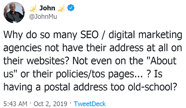 Screenshot of a tweet by John Mueller who works as a Webmaster Trends Analyst at Google