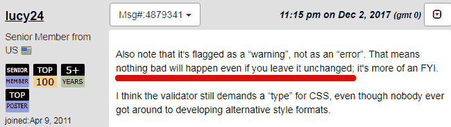 Screenshot of a webmasterworld forum member downplaying the type attribute validation warning