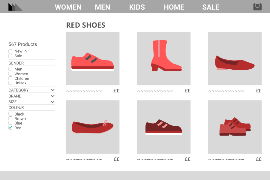 Red shoes landing page