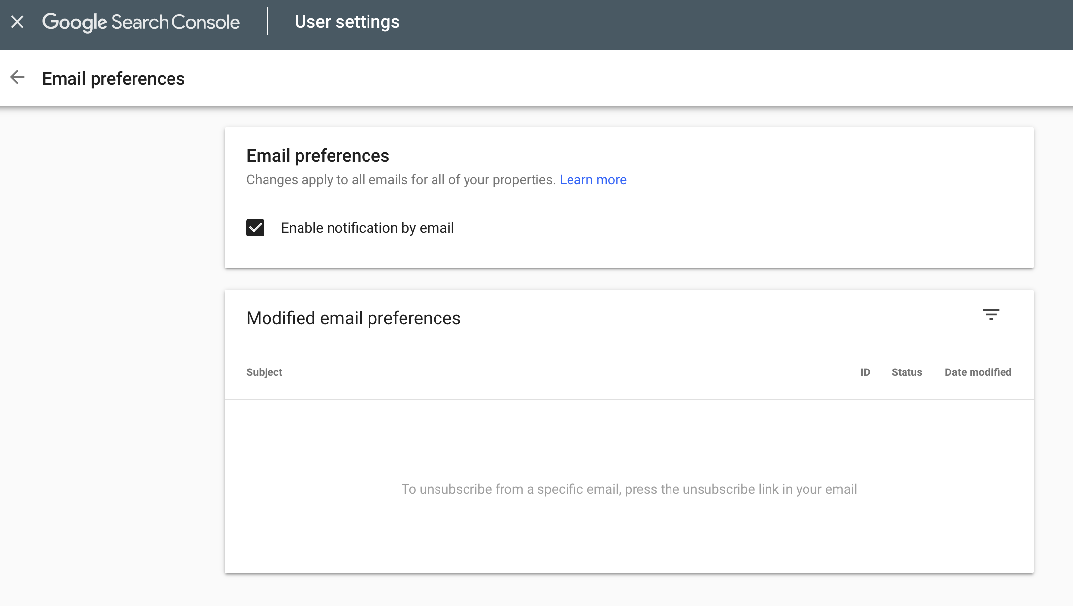 google search console email notifications