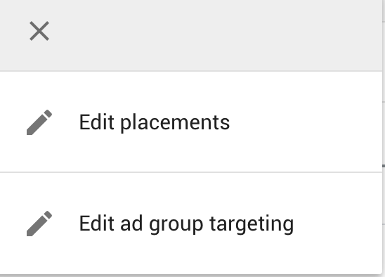 Google Display Network Edit Managed Placements