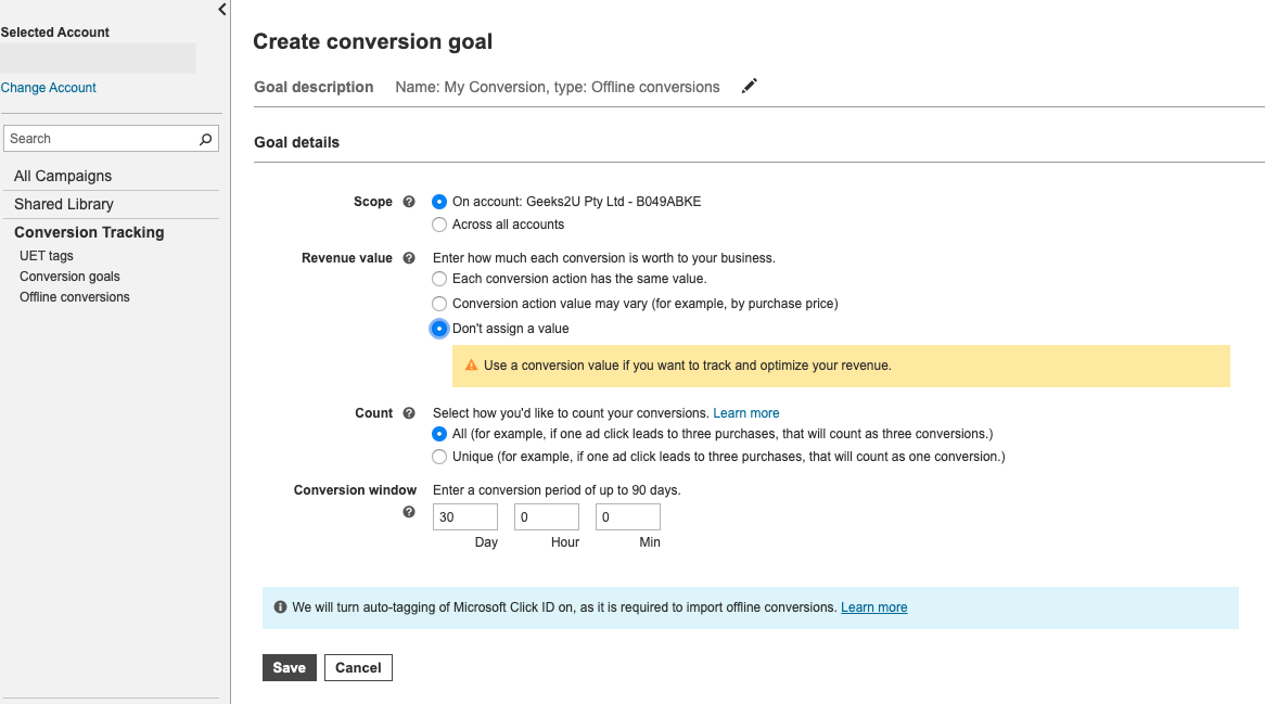 Conversion Goal Settings