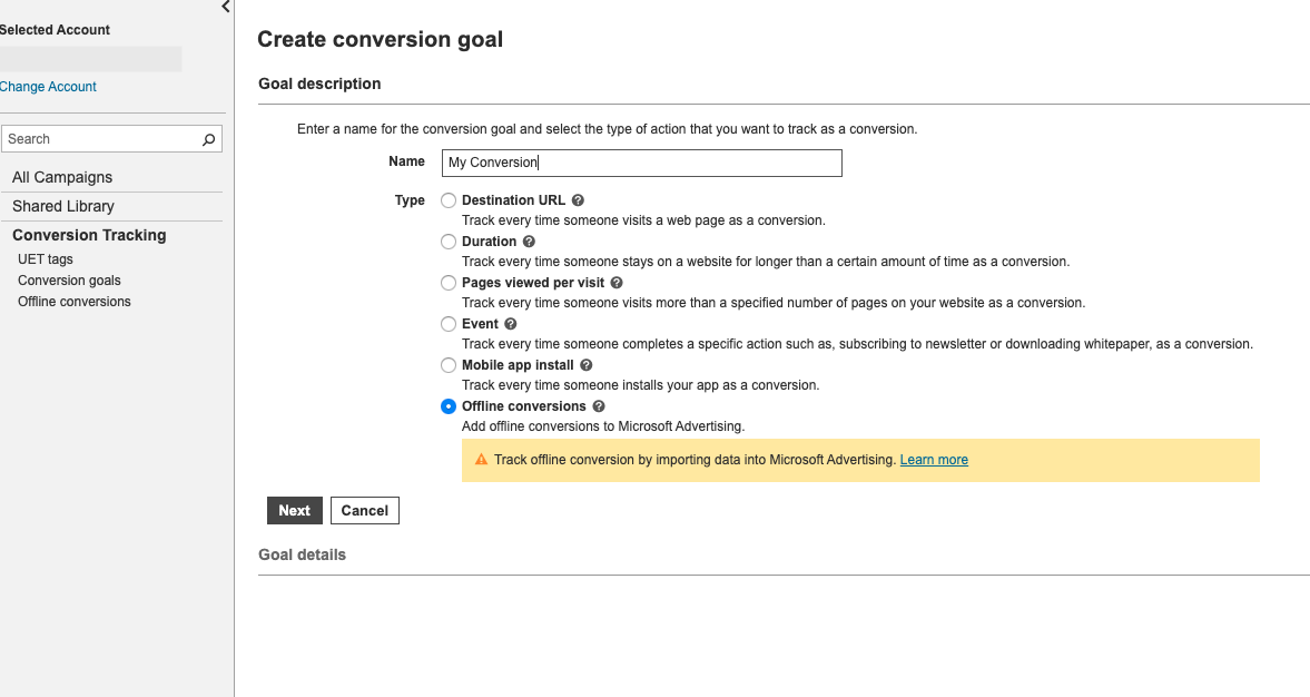 Create Conversion Goal