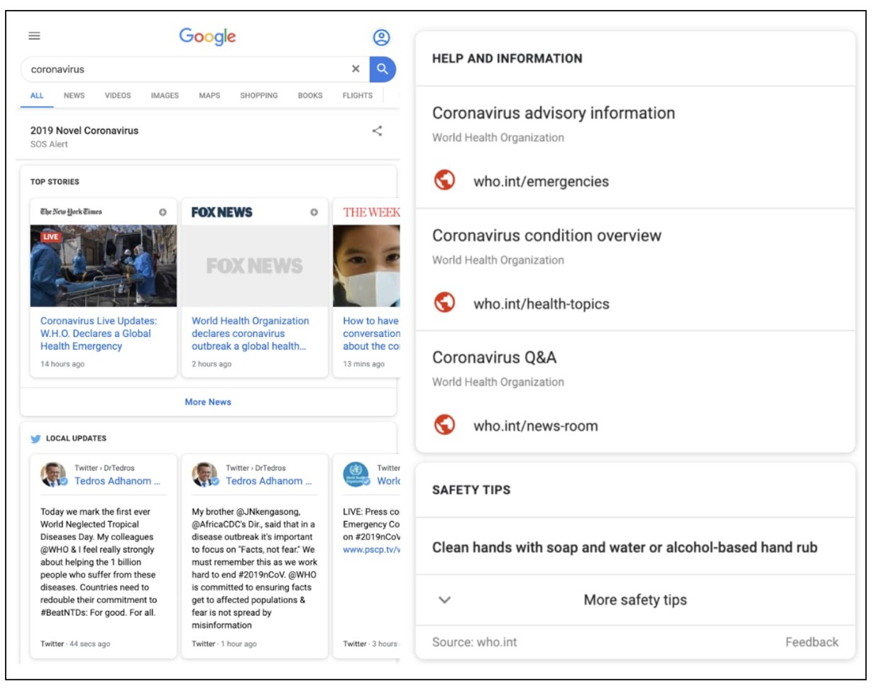 Google Launches SOS Alert For Searches Related to Coronavirus