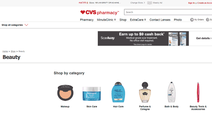 screenshot of plain-looking cvs website
