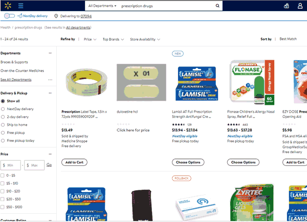 Screenshot of plain looking walmart site