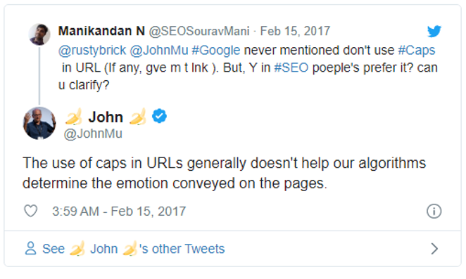 John Mueller: Caps in URLs don't help our algorithms understand emotion